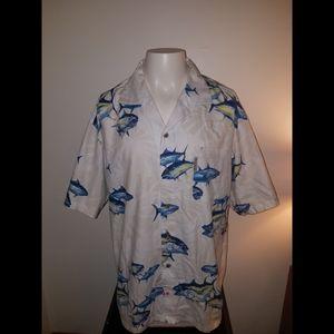 Columbia River Lodge S/S Fish Button Down Shirt XL